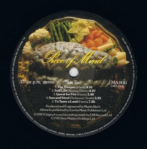 Iron Maiden Piece Of Mind Vinyl Record Lp Emi Ema 800